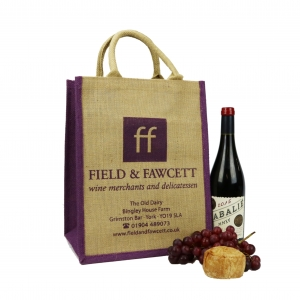 Jute Bag for carrying wine bottles